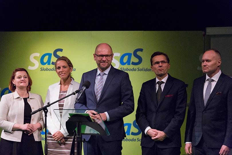Predsedníctvo strany SaS Natália Blahová, Jana Kiššová, Richard Sulík, Ľubomír Galko, Roman Foltin